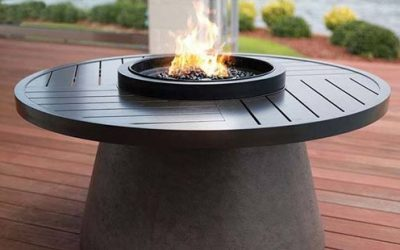 "Aragon 48"" Round Fire Table with Slate Top"